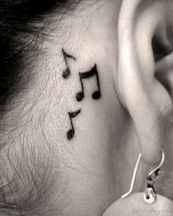 Music Note Tattoo On Neck Behind Ear