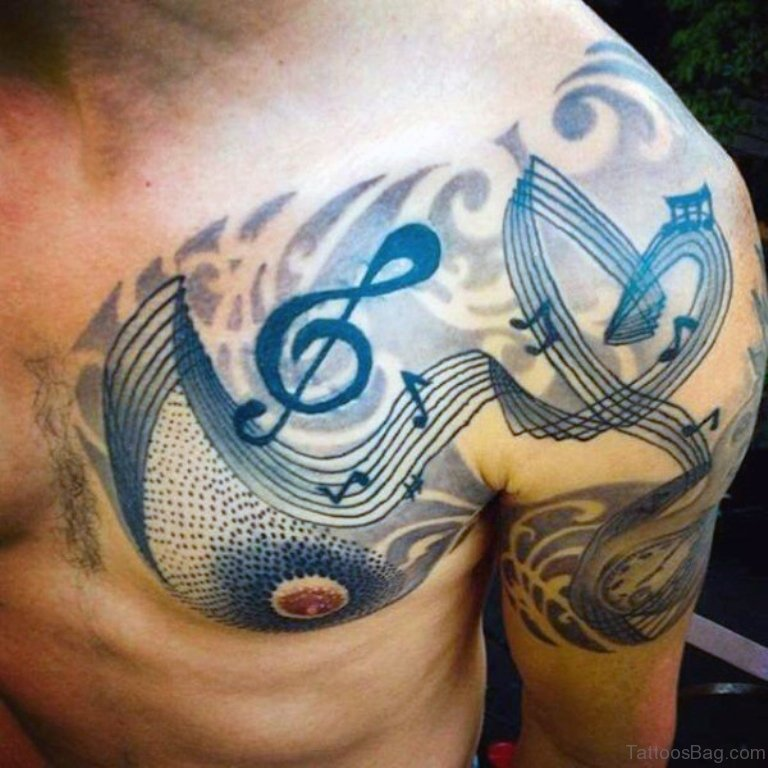 44 magnificent music tattoos on chest. Black Bedroom Furniture Sets. Home Design Ideas