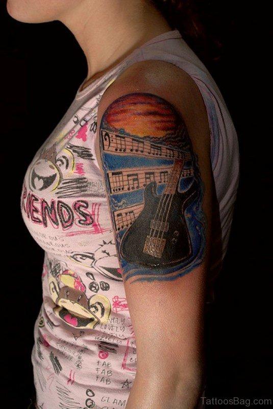 Music Tattoo On Shoulder