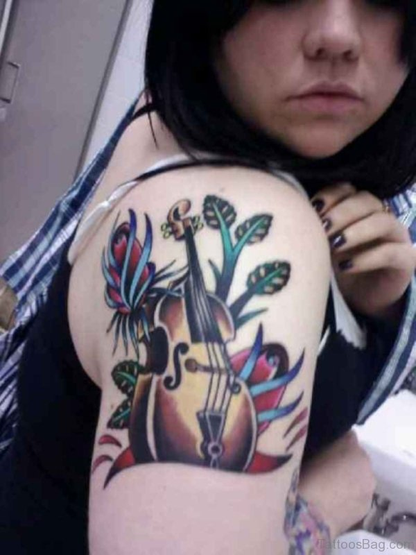 Music With Guitar Shoulder Tattoo