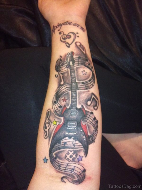 Musical Guitar Tattoo On Wrist