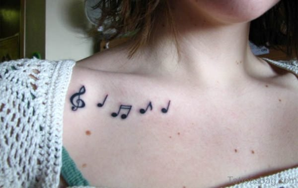 Musical Notes Collar Bone Tattoo