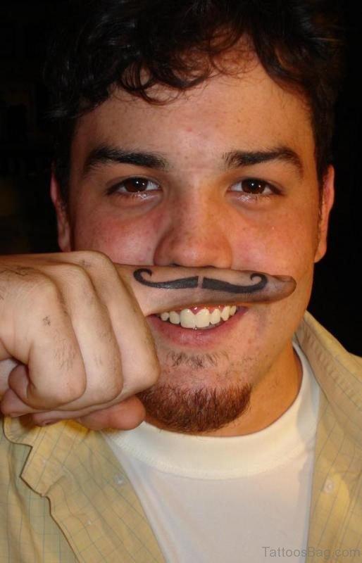 Mustache Finger Tattoo Picture