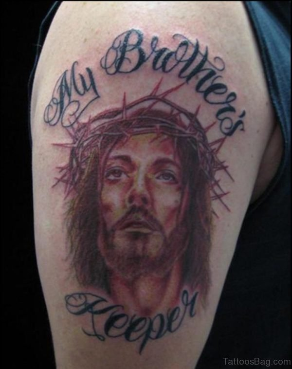 My Brother Keeper Jesus Tattoo On Shoulder