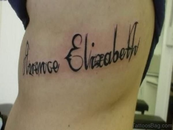 Name And Inspirational Words Tattoo