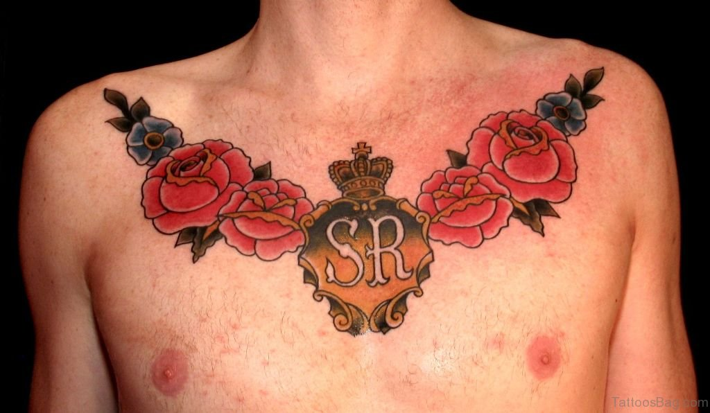 85 mind blowing rose tattoos on chest. Black Bedroom Furniture Sets. Home Design Ideas
