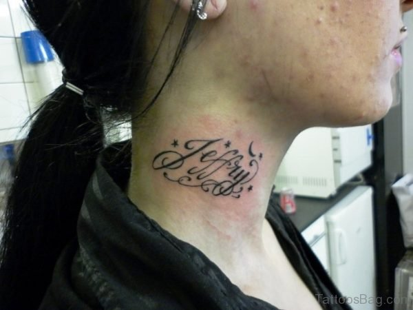 Name Lettering Tattoo On Right Side Neck