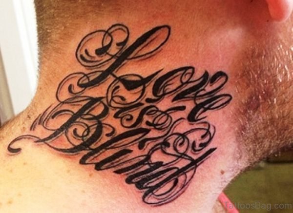 Name Letters Neck Tattoo
