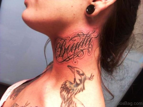 Name Tattoo On Left Side Neck