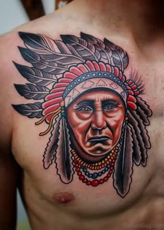 Native American Headdress Portrait Tattoo On Chest