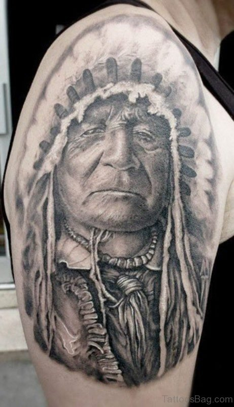 Native American Man Tattoo On Right Shoulder