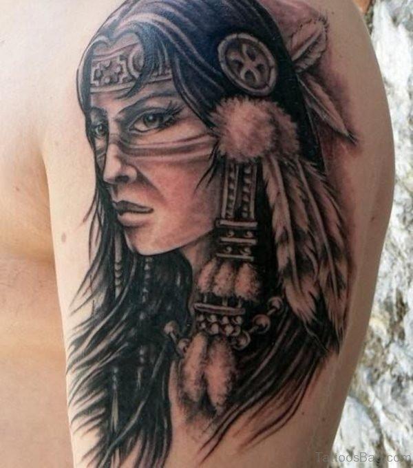 Native American Old Lady Portrait Tattoo