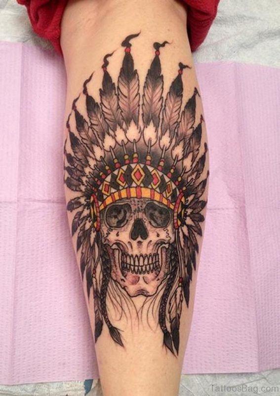 Native American Skull and Headdress Tattoo