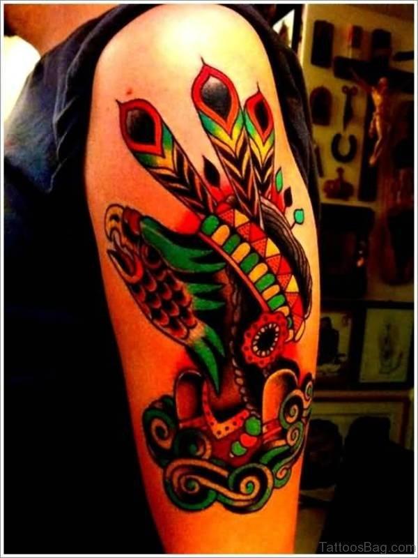 Native American Tattoo On Left Shoulder