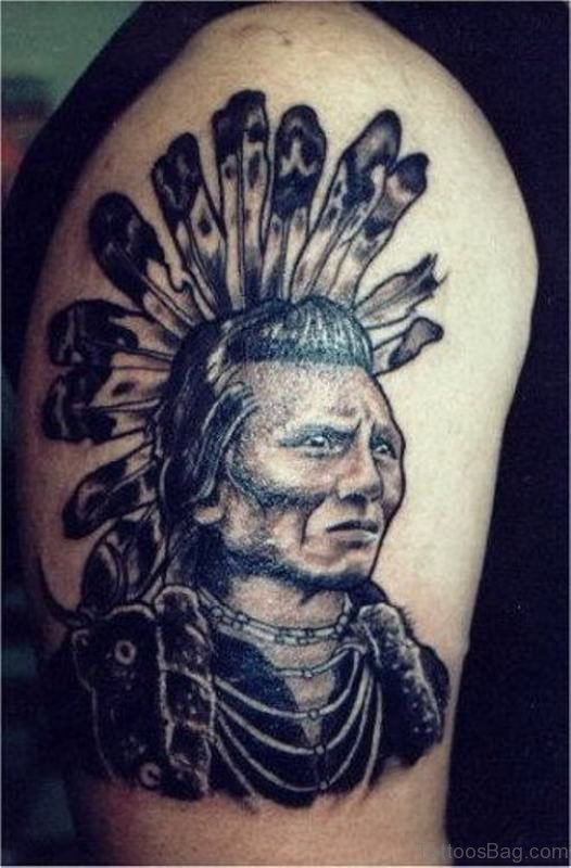 Native American Tattoo On Right Shoulder