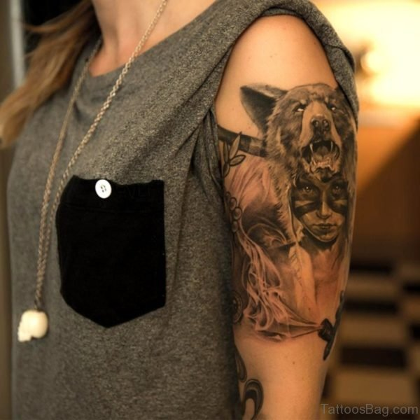Native American Wolf Tattoo On Shoulder