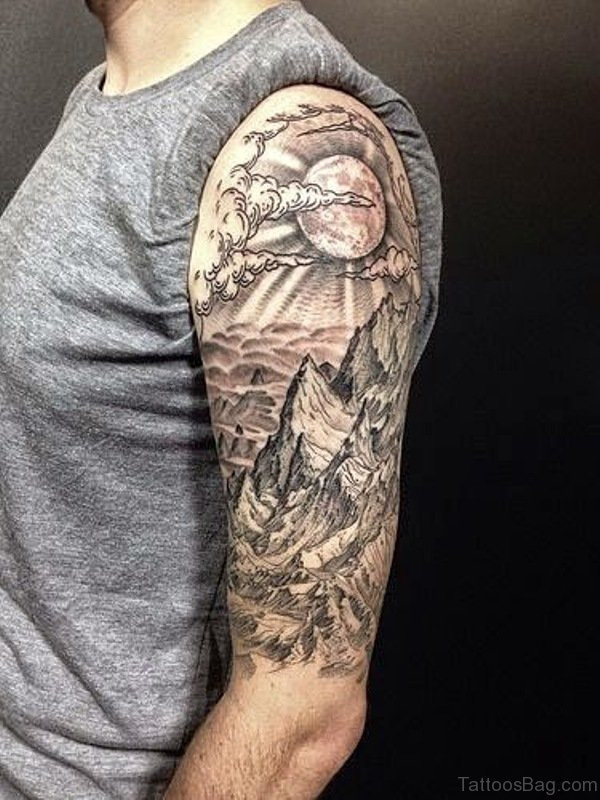 Nature Half Sleeves Shoulder Tattoo