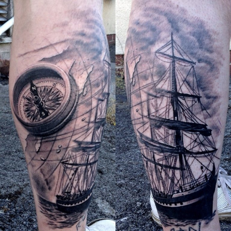 41 stylish compass tattoos for leg. Black Bedroom Furniture Sets. Home Design Ideas