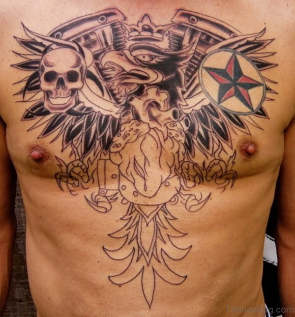 Nautical Star Skull And Wings Tattoo