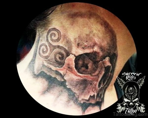 Neck Tattoo Of Skull