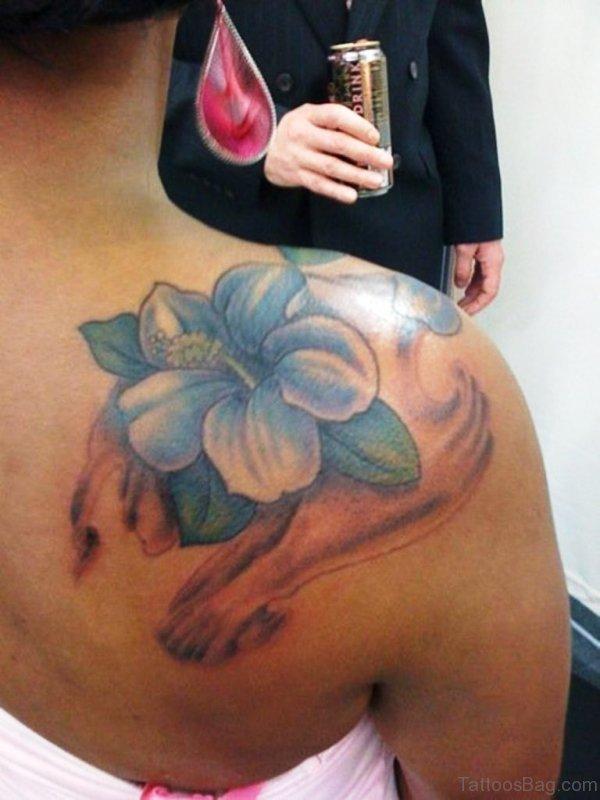 New Design Flower Tattoo On Shoulder