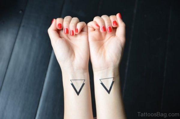 New Matching Triangle Tattoos On Wrist