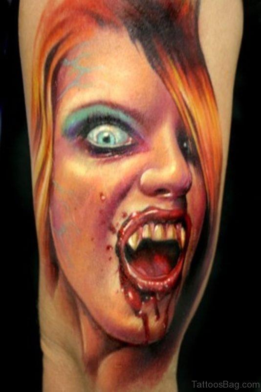 New Vampire Girl Portrait Tattoo For Arm