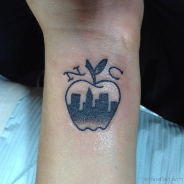 Newyork City Apple Wrist Tattoo