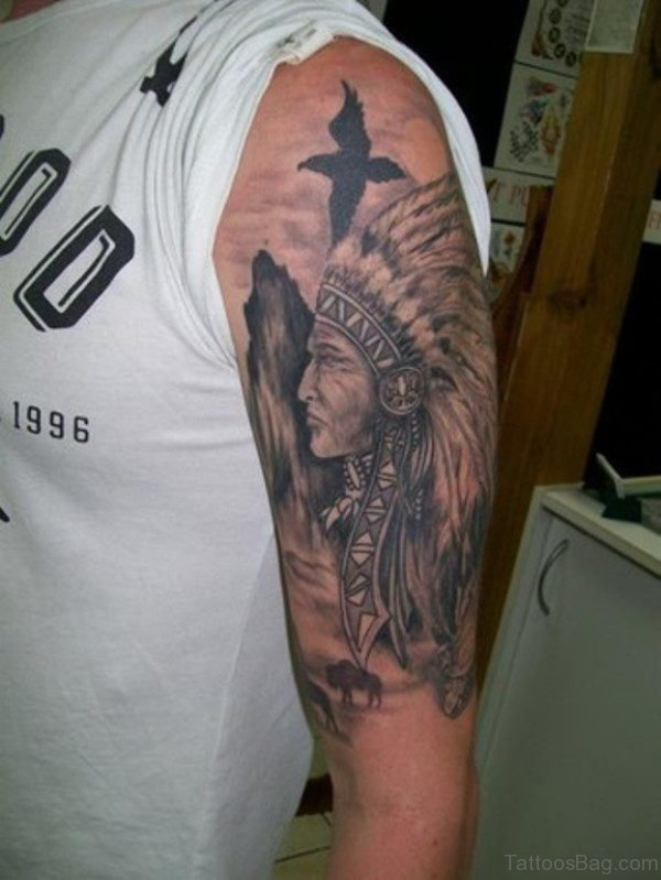Nice American Tattoo On Left Shoulder