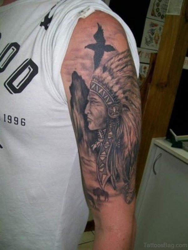 Nice American Tattoo On Left Shoulder