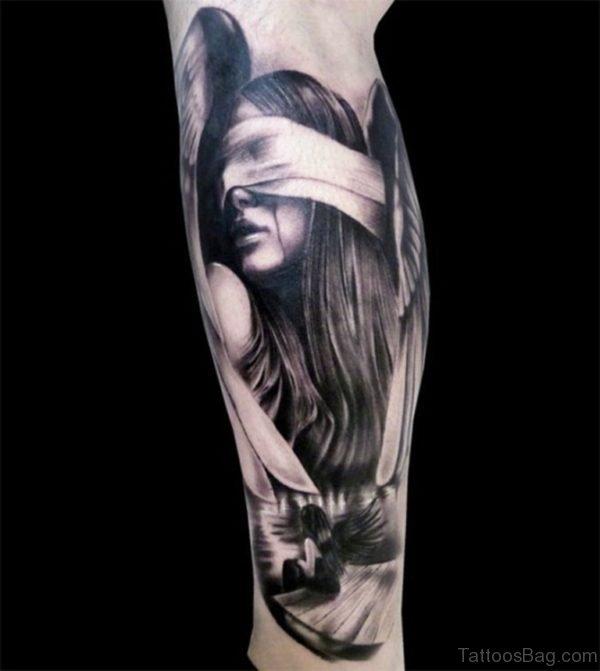 Nice Angel Tattoo On Leg