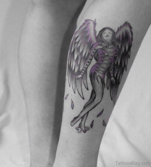 Nice Angel Tattoo On Leg Image