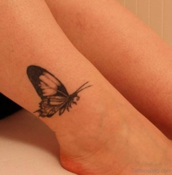 Nice Ankle Butterfly Tattoo