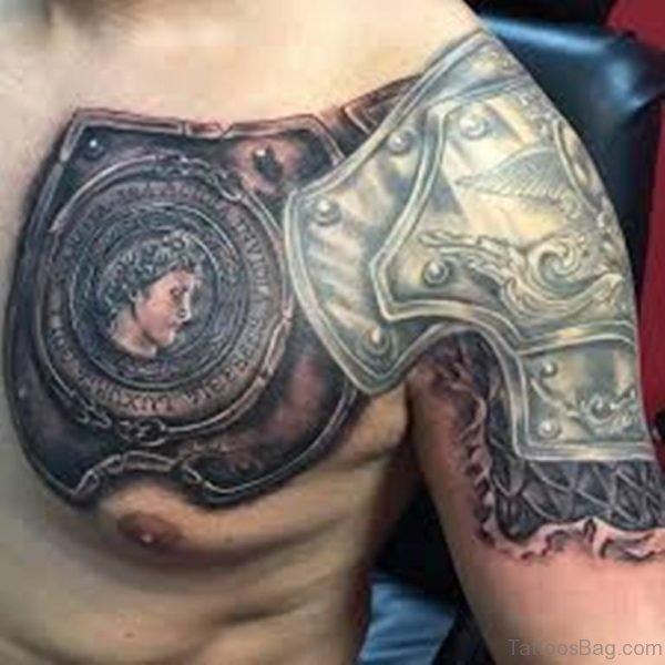 Nice Armor Tattoo On Chest