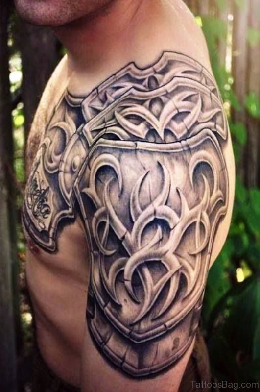 Nice Armour Shoulder Tattoo