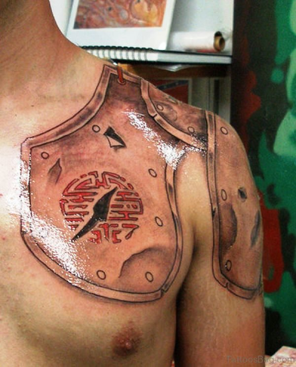 Nice Armour Tattoo On Left Shoulder