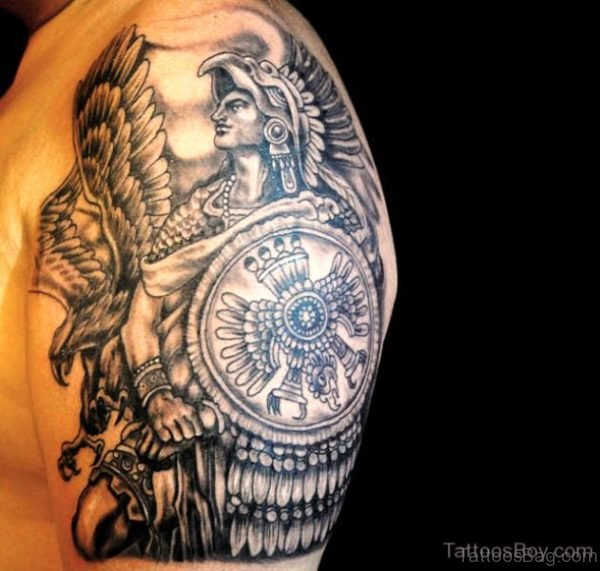 Nice Aztec Tattoo On Shoulder