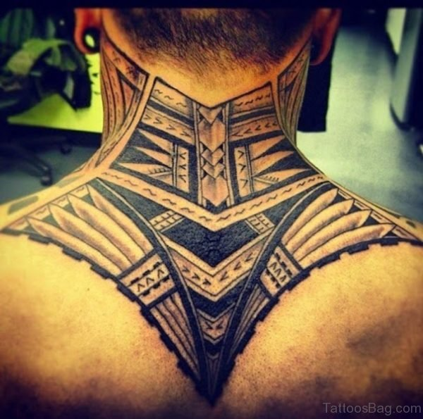Nice Back Cover Neck Tribal Tattoo