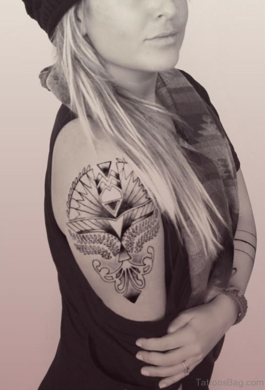 Nice Black And White Shoulder Tattoo