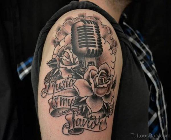 Nice Black Music Tattoo Design