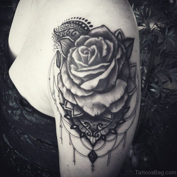 Nice Black Shoulder Lace Tattoo