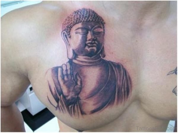 Nice Buddha Tattoo Design On Chest