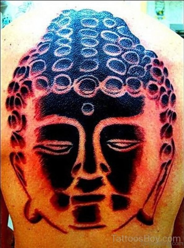 Nice Buddha Tattoo On Back Body