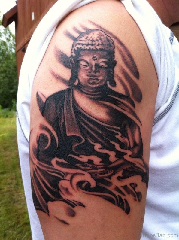 Nice Buddha Tattoo On Shoulder