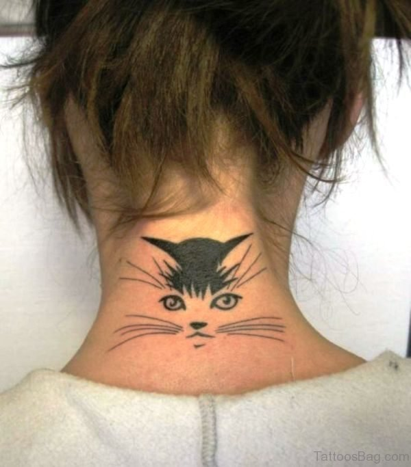 Nice Cat Face Tattoo On Neck
