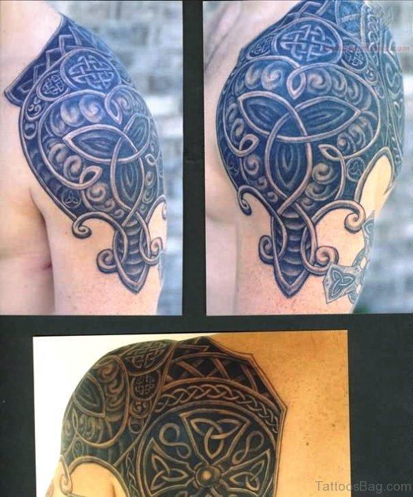 Nice Celtic Armour Shoulder Tattoo