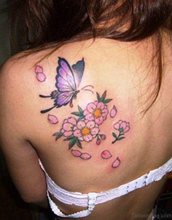 Nice Cherry Blossom Flower Tattoo Design