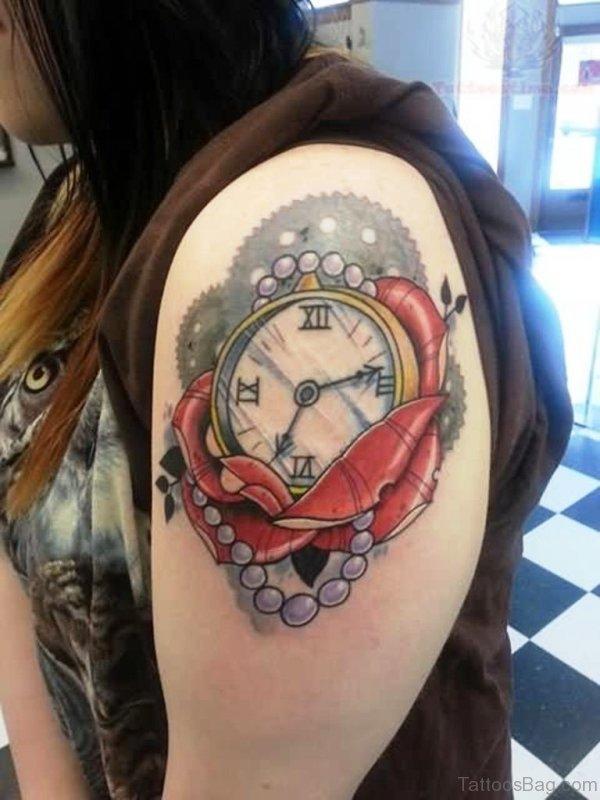 Nice Clock Shoulder Tattoo Design