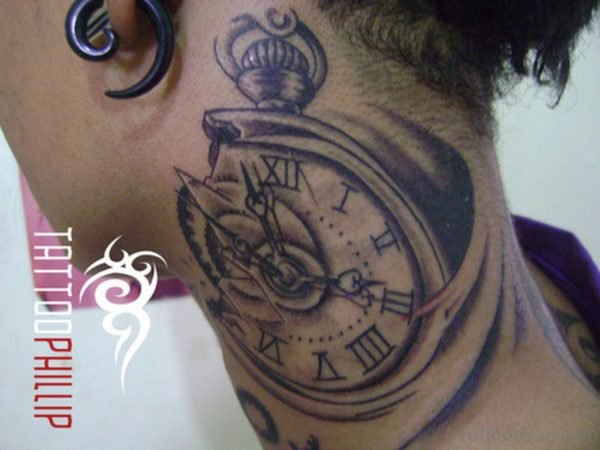 Nice Clock Tattoo On Neck