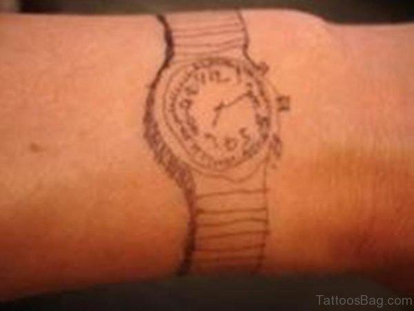 Nice Clock Tattoo On Wrist